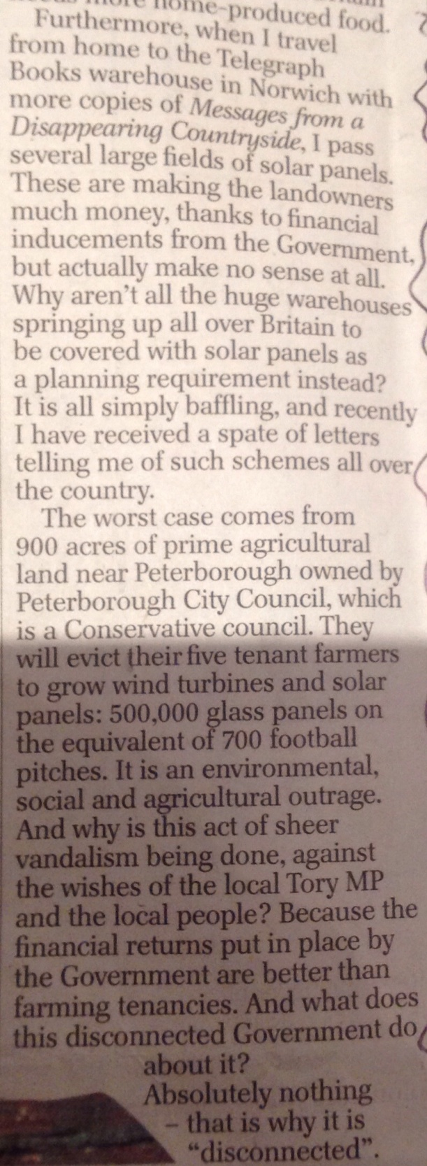 Robin Page criticises Peterborough City Councils of 'sheer vandalism' in his Country Diary article in the Telegraph